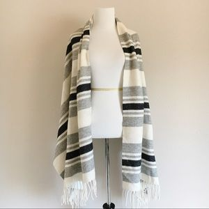 Madewell Ivory 100% Wool Striped Fringe Cape Scarf